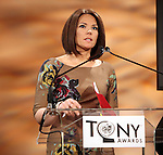 Erica Hill.announcing the 2012 Tony Award Nominations at Lincoln Center on 5/1/2012 in New York City. © Walter McBride / Retna Ltd.