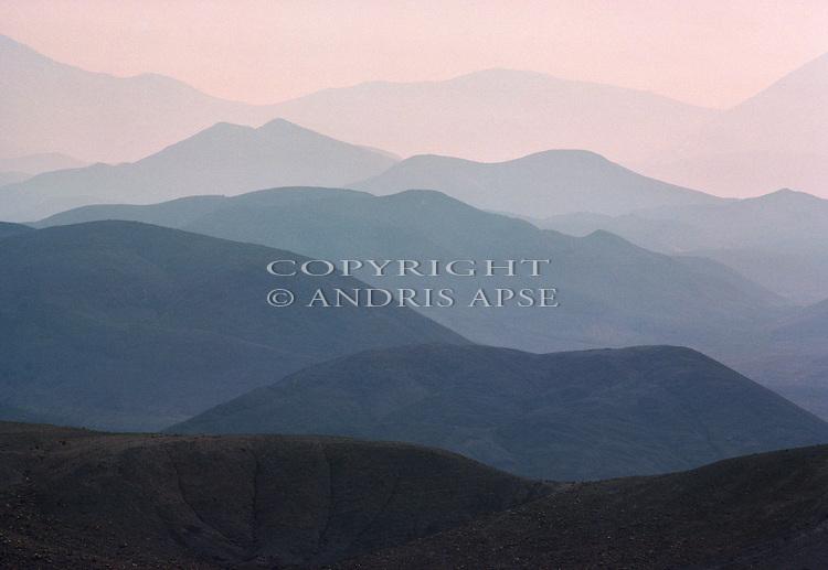Mountain ridges near Copiapo. Chile.