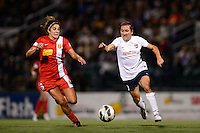 Sky Blue FC forward Lisa De Vanna (11) is marked by Western New York Flash midfielder Angela Salem (6). The Western New York Flash defeated Sky Blue FC 2-0 during a National Women's Soccer League (NWSL) semifinal match at Sahlen's Stadium in Rochester, NY, on August 24, 2013.