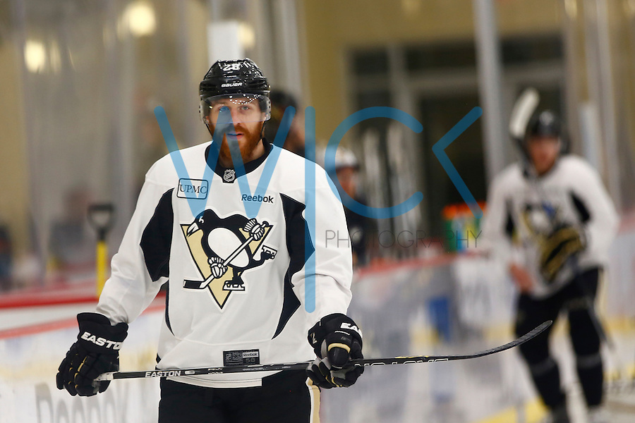 Ian Cole #28 of the Pittsburgh Penguins skates during practice at UPMC Lemieux Sports Complex in Cranberry Township, Pennsylvania on June 8, 2016. (Photo by Jared Wickerham / DKPS)