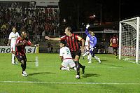 CURITIBA, PR, 15 DE MARÇO 2012 – ATLÉTICO-PR X SAMPAIO CORRÊA-MA - Paulo Baier (c) e Guérron comemoram o gol de Marcinho (11), do Atlético, contra o Sampaio Corrêa durante o segundo jogo da primeira fase da Copa do Brasil. A partida aconteceu na noite de quinta-feira (15), na Vila Capanema, em Curitiba. <br /> (FOTO: ROBERTO DZIURA JR./ BRAZIL PHOTO PRESS)