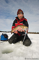 Winter brook trout caught ice fishing in Northern Ontario.