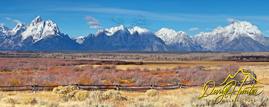 Buckrail Fence, Grand Tetons, October snow,<br />