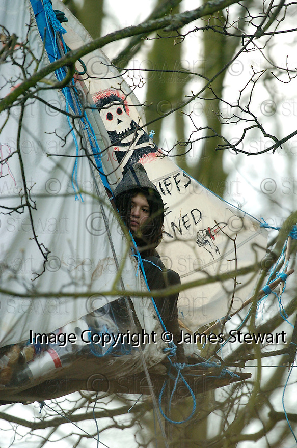 23/01/2006         Copyright Pic: James Stewart.File Name : sct_jspa21_dalkeith.A PROTESTER, KNOWN AS MONGOOSE,  SITS IN A TENT SUSPENDED OVER THE RIVER AT DALKEITH PARK.Payments to :.James Stewart Photo Agency 19 Carronlea Drive, Falkirk. FK2 8DN      Vat Reg No. 607 6932 25.Office     : +44 (0)1324 570906     .Mobile   : +44 (0)7721 416997.Fax         : +44 (0)1324 570906.E-mail  :  jim@jspa.co.uk.If you require further information then contact Jim Stewart on any of the numbers above.........