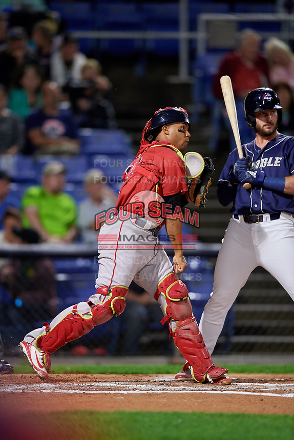 Portland Sea Dogs catcher Jhon Nunez (20) throws to second base during a game against the Binghamton Rumble Ponies on August 31, 2018 at NYSEG Stadium in Binghamton, New York.  Portland defeated Binghamton 4-1.  (Mike Janes/Four Seam Images)