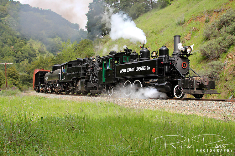Mason County Logging #7 leads Quincy Railroad Company #2 through Niles Canyon as part of the Niles Canyon Railway Steamfest II. The Mason County Logging Co. #7 was built in 1910 by the Baldwin Locomotive Works.