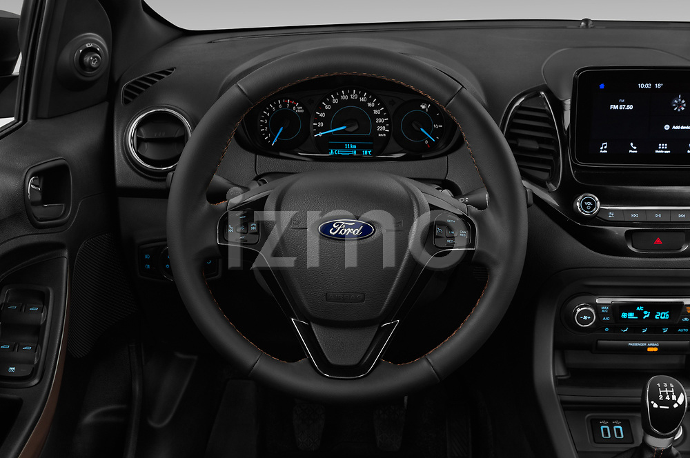 Car pictures of steering wheel view of a 2019 Ford KA + Active 5 Door Hatchback