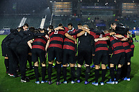 CARY, NC - DECEMBER 13: Stanford University's players huddle during a game between Stanford and Georgetown at Sahlen's Stadium at WakeMed Soccer Park on December 13, 2019 in Cary, North Carolina.