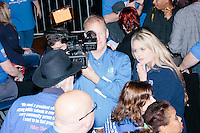 A video crew interviews campaign volunteers before former Secretary of State and Democratic presidential candidate Hillary Rodham Clinton speaks at a rally at Nashua Community College in Nashua, New Hampshire, on Tues. Feb. 2, 2016. Former president Bill Clinton also spoke at the event. The day before, Hillary Clinton won the Iowa caucus by a small margin over Bernie Sanders.