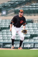 GCL Orioles first baseman Seamus Curran (10) during the first game of a doubleheader against the GCL Rays on August 1, 2015 at the Ed Smith Stadium in Sarasota, Florida.  GCL Orioles defeated the GCL Rays 2-0.  (Mike Janes/Four Seam Images)