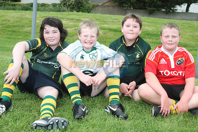 John McGinley, Conor Callaghan, Andrew Dalton and Luke O'Callaghan at the Summer Camp in Boyne Rugby Football Club...Picture Jenny Matthews/Newsfile.ie