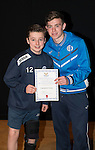 St Johnstone FC Academy Awards Night...06.04.15  Perth Concert Hall<br /> Craig Thomson presents a certificate to Cameron Cook<br /> Picture by Graeme Hart.<br /> Copyright Perthshire Picture Agency<br /> Tel: 01738 623350  Mobile: 07990 594431