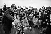 Geraint Thomas (GBR/SKY) escorted out straight after finishing<br /> <br /> stage 12: Lannemezan - Plateau de Beille (195km)<br /> 2015 Tour de France