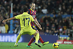 14.12.2013. Barcelona, Spain. La Liga, day 16. Picture show andres Iniesta Santos Júnior  in action during match between FC Narcelona against Villareal at Camp Nou