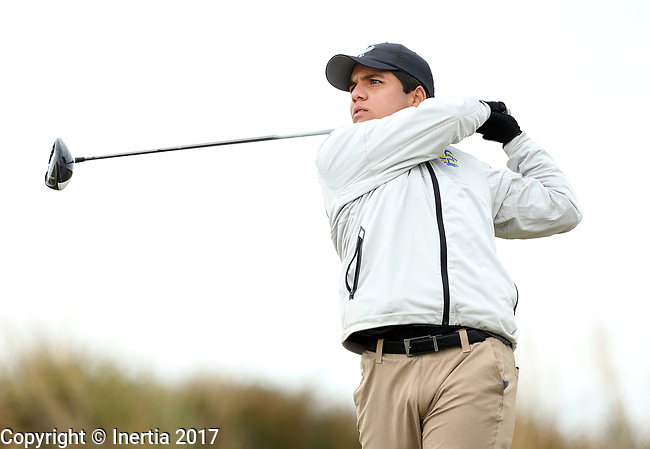 VALENTINE, NE - OCTOBER 2: Alejandro Perazzo from South Dakota State University watches his tee shot on the second hole during the SDSU Invite Monday at The Prairie Club in Valentine, NE. (Photo by Dave Eggen/Inertia)