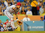 22 July 2011: Washington Nationals catcher Wilson Ramos in action against the Los Angeles Dodgers at Dodger Stadium in Los Angeles, California. The Nationals defeated the Dodgers 7-2 in their first meeting of the 2011 season. Mandatory Credit: Ed Wolfstein Photo