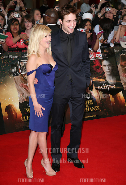 Robert Pattinson and Reese Witherspoon arriving for the UK film premiere of Water For Elephants, at Vue Westfield, west London. 03/05/2011  Picture by: Alexandra Glen / Featureflash