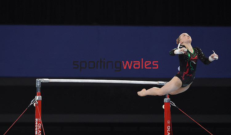 Wales' Georgina Hockenhull competes in the uneven bars<br /> <br /> Gymnastics artistic - Team final & Individual Qualification <br /> <br /> Photographer Chris Vaughan/Sportingwales<br /> <br /> 20th Commonwealth Games - Day 5 - Monday 28th July 2014 - Gymnastics artistic - The SSE Hydro - Glasgow - UK
