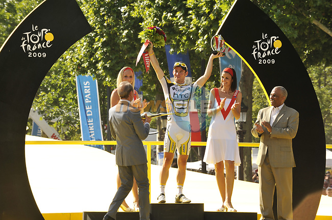 Stage winner Mark Cavendish (GBR) Team Columbia High Road on he podium at the end of the final Stage 21 of the 2009 Tour de France running 164km from Montereau-Fault-Yonne to Paris Champs-Elysees, France. 26th July 2009 (Photo by Eoin Clarke/NEWSFILE)