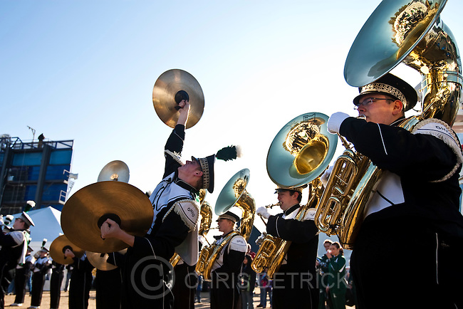 Chris Detrick  |  The Salt Lake Tribune.Members of the Ohio marching band perform before the Famous Idaho Potato Bowl at Bronco Stadium Saturday December 17, 2011.