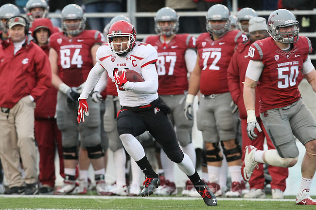 Chris Detrick  |  The Salt Lake Tribune.Utah Utes wide receiver Luke Matthews (11) runs the ball for a touchdown during the first half of the game at Martin Stadium at Washington State University Saturday November 19, 2011. The game is tied 7-7.