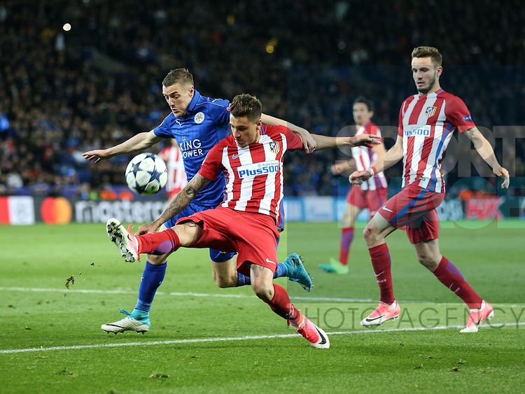 Leicester's Jamie Vardy tussles with Atletico's Jose Maria Gimenez during the Champions League Quarter-Final 2nd leg match at the King Power Stadium, Leicester. Picture date: April 18th, 2017. Pic credit should read: David Klein/Sportimage