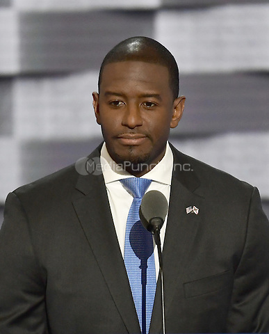 Mayor Andrew Gillum (Democrat of Tallahassee, Florida) makes remarks during the third session of the 2016 Democratic National Convention at the Wells Fargo Center in Philadelphia, Pennsylvania on Wednesday, July 27, 2016.<br /> Credit: Ron Sachs / CNP/MediaPunch<br /> (RESTRICTION: NO New York or New Jersey Newspapers or newspapers within a 75 mile radius of New York City)