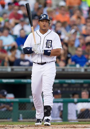 August 07, 2012:  Detroit Tigers third baseman Miguel Cabrera (24) during MLB game action between the New York Yankees and the Detroit Tigers at Comerica Park in Detroit, Michigan.  The Tigers defeated the Yankees 6-5.