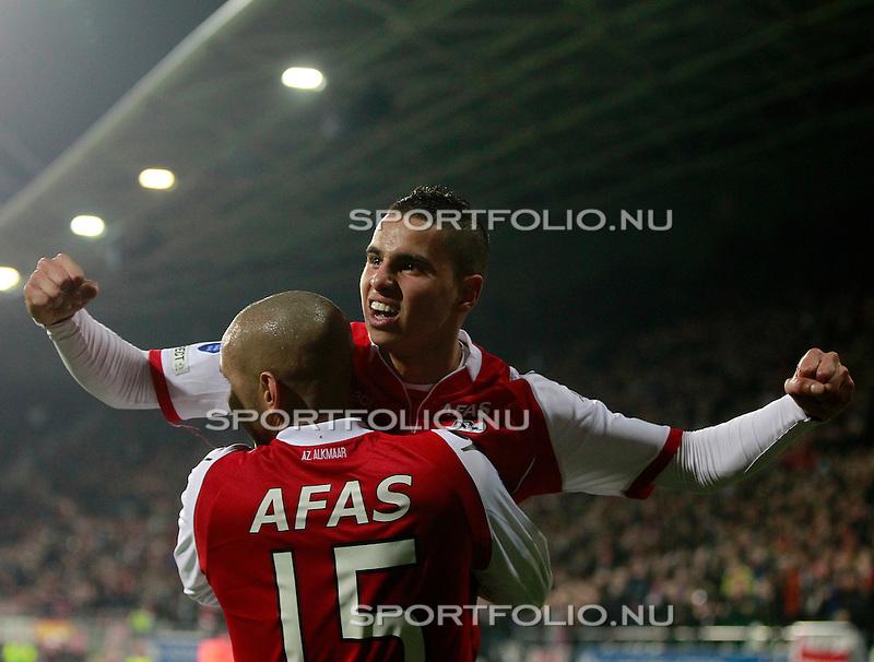 Nederland, Alkmaar, 22 maart 2012.KNVB beker.Seizoen 2011-2012.AZ-Heracles.Adam Maher van AZ balt zijn vuisten na het scoren van de 1-1