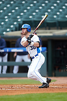 Jimmy Herron (30) of the Duke Blue Devils follows through on his swing against the Virginia Cavaliers in Game Seven of the 2017 ACC Baseball Championship at Louisville Slugger Field on May 25, 2017 in Louisville, Kentucky. The Blue Devils defeated the Cavaliers 4-3. (Brian Westerholt/Four Seam Images)