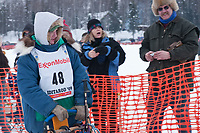 Wade Marrs team leaves the start line during the restart day of Iditarod 2009 in Willow, Alaska