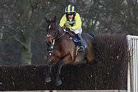 El Dancer ridden by Leighton Aspell in jumping action during the Norfolk Beginners' Chase