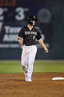 Steele Walker (6) of the Kannapolis Intimidators takes his lead off of second base against the Rome Braves at Kannapolis Intimidators Stadium on April 4, 2019 in Kannapolis, North Carolina.  The Braves defeated the Intimidators 9-1. (Brian Westerholt/Four Seam Images)