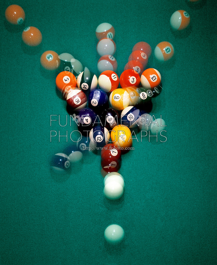 TRANSFER OF ENERGY - BILLIARD BALL BREAK <br /> Cue Ball Strikes Target Ball<br /> Cue ball strikes target ball &amp; transfers all its energy to forward momentum of target ball and into pool ball rack. An ordered system of low entropy is changed to disorder and higher entropy.