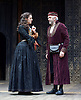 The Merchant of Venice <br /> by William Shakespeare <br /> at The Globe Theatre, London, Great Britain <br /> 25th April 2015 <br /> <br /> Jonathan Pryce as Shylock <br /> <br /> Phoebe Pryce as Jessica <br /> <br /> <br /> Photograph by Elliott Franks <br /> Image licensed to Elliott Franks Photography Services