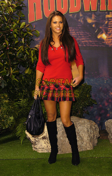 "BIANCA GASCOIGNE.At the UK Film Premiere of ""Hoodwinked"",.Vue West End Cinema, London, England,.September 24th 2006..full length red top tartan plaid mini skirt black fendi spy bag knee high boots.Ref: CAN.www.capitalpictures.com.sales@capitalpictures.com.©Can Nguyen/Capital Pictures"