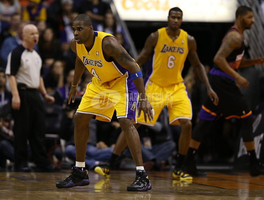 Jan. 30, 2013; Phoenix, AZ, USA: Los Angeles Lakers forward Antawn Jamison (4) against the Phoenix Suns at the US Airways Center. Mandatory Credit: Mark J. Rebilas-