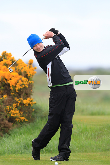 David Brady (Co. Sligo) on the 12th tee during Round 1 of The Irish Amateur Open Championship in The Royal Dublin Golf Club on Thursday 8th May 2014.<br /> Picture:  Thos Caffrey / www.golffile.ie