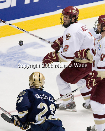 Mark Van Guilder (Notre Dame 23), Anthony Aiello (BC 2), Mike Brennan (BC 4) - The Boston College Eagles won the NCAA D1 national championship by defeating the University of Notre Dame Fighting Irish 4-1 in the final of the 2008 Frozen Four at the Pepsi Center in Denver, Colorado on Saturday, April 12, 2008.