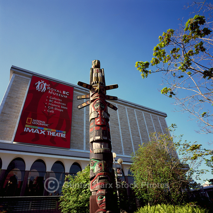 Victoria, BC, Vancouver Island, British Columbia, Canada - Royal BC Museum and Kwakwaka'wakw (Kwakiutl) Totem Pole (carver Richard Hunt)