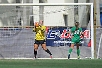 8 November 2015:  North Texas Goalkeeper Jackie Kerestine (0) records a save in the second half as the University of North Texas Mean Green defeated the Marshall University Thundering Herd, 1-0, in the Conference USA championship game at University Park Stadium in Miami, Florida.