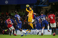 Chelsea goalkeeper, Willy Caballero makes a fine save during Chelsea vs Manchester United, Premier League Football at Stamford Bridge on 17th February 2020