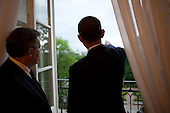 President Barack Obama and Polish President Bronislaw Komorowski look at the view from the Presidential Palace in Warsaw, Poland, May 27, 2011. .Mandatory Credit: Pete Souza - White House via CNP