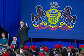 Rick Saccone, Republican Congressional candidate for Pennsylvania's 18th district, takes the stage during a Make American Great Rally at Atlantic Aviation in Moon Township, Pennsylvania on March 10th, 2018. Credit: Alex Edelman / CNP
