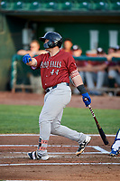 Chase Vallot (44) of the Idaho Falls Chukars follows through on a swing during a game against the Ogden Raptors at Lindquist Field on August 29, 2018 in Ogden, Utah. Idaho Falls defeated Ogden 15-6. (Stephen Smith/Four Seam Images)
