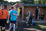 Harestanes AFC v Girvan FC, 15/08/2015. Scottish Cup preliminary round, Duncansfield Park. Home players are consoled by officials after Harestanes AFC (in light blue) played Girvan FC in a Scottish Cup preliminary round tie, staged at Duncansfield Park, home of Kilsyth Rangers. The home team were the first winners of the Scottish Amateur Cup to be admitted directly into the Scottish Cup in the modern era, whilst the visitors participated as a result of being members of both the Scottish Football Association and the Scottish Junior Football Association. Girvan won the match by 3-0, watched by a crowd of 300, which was moved from Harestanes ground as it did not comply with Scottish Cup standards. Photo by Colin McPherson.