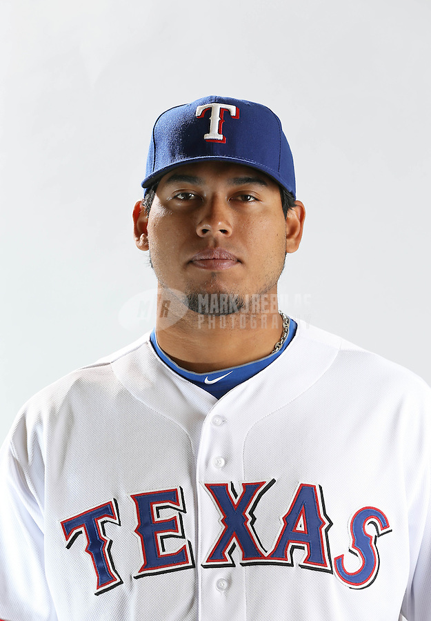 Feb. 20, 2013; Surprise, AZ, USA: Texas Rangers pitcher Wilmer Font poses for a portrait during photo day at Surprise Stadium. Mandatory Credit: Mark J. Rebilas-