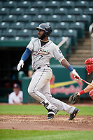 San Antonio Missions right fielder Franmil Reyes (7) follows through on a swing during a game against the Springfield Cardinals on June 4, 2017 at Hammons Field in Springfield, Missouri.  San Antonio defeated Springfield 6-1.  (Mike Janes/Four Seam Images)
