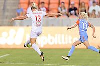 Houston, TX - Saturday July 30, 2016: Abigail Dahlkemper, Denise O'Sullivan during a regular season National Women's Soccer League (NWSL) match between the Houston Dash and the Western New York Flash at BBVA Compass Stadium.
