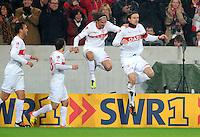 Fussball 1. Bundesliga:  Saison   2011/2012    16. Spieltag VfB Stuttgart - FC Bayern Muenchen  11.12.2011 Jubel nach dem Tor zum 1:0 Martin Harnik , Christian Gentner (v. li., VfB Stuttgart)